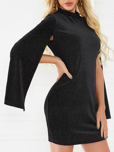Stand Collar Black Dresses Bodycon Party Sexy Slit Dresses