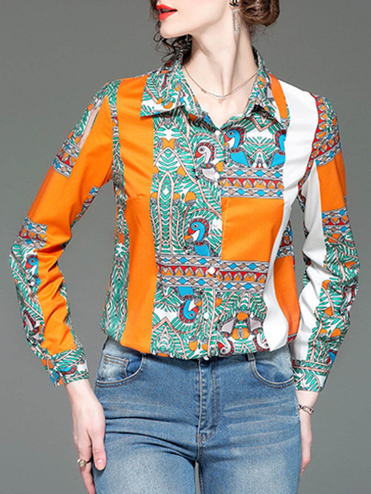 Graphic Shirt Collar Color-Block Long Sleeve Paneled Work Top
