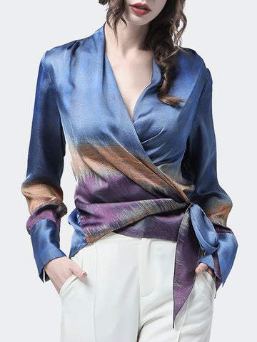 Blue Long Sleeve Shift Chiffon Shirts & Tops