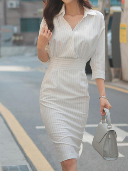 Stripes V neck Bodycon Elegant Midi Dress