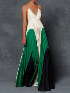 Color-block Pleated Prom Elegant Maxi Dress