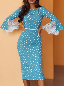 Guipure Lace Paneled Polka Dots Elegant Midi Dress