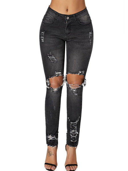Black Sheath Pockets Casual Denim Pants