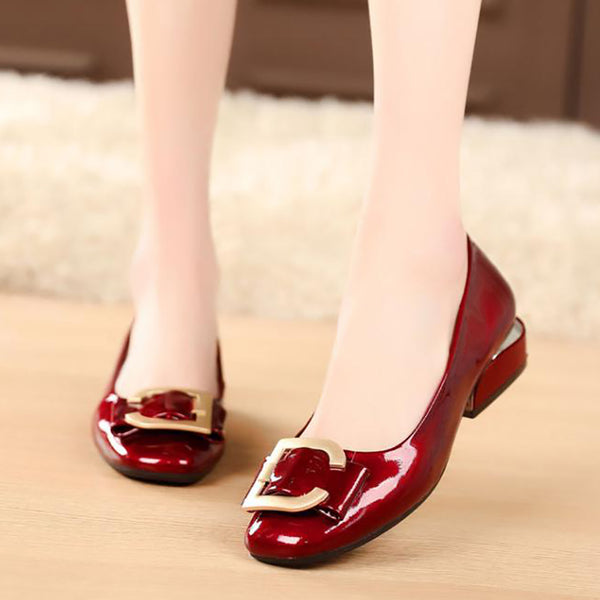 Elegant Genuine Leather Chunky Heel Date Shoes