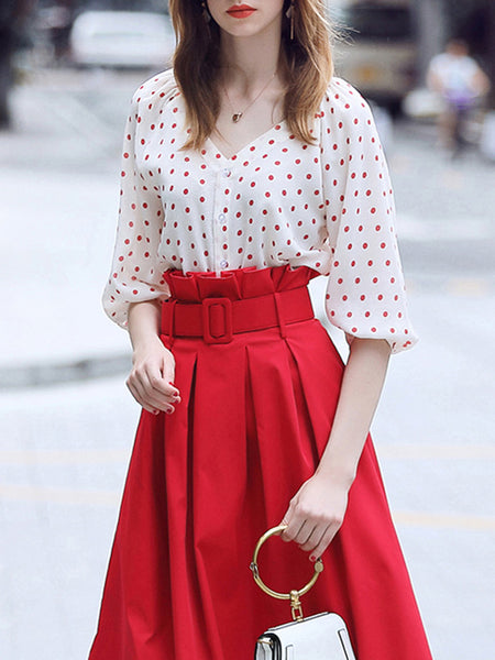 V Neck Polka Dots Elegant Date Top With Skirt Two-Piece Set
