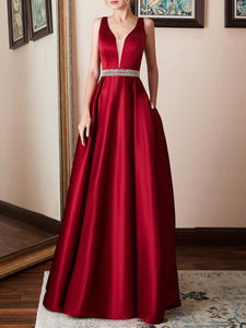 Gorgeous Ball Gown Prom Solid Maxi Dress