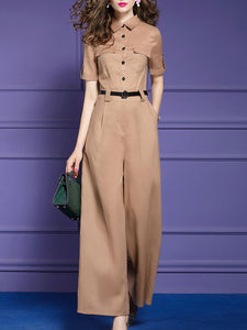 Solid Elegant Work Jumpsuit