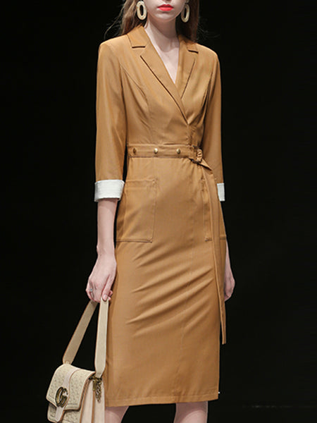 Khaki V Neck Pockets Work Midi Dress