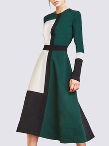 White-Green Dresses A-Line Paneled Dress