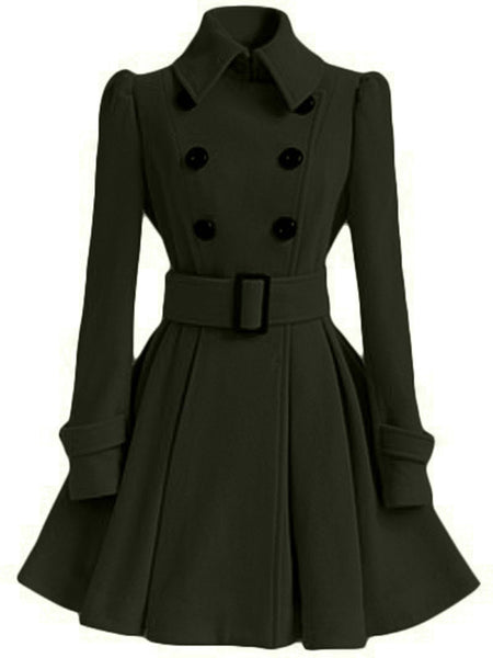 Buttoned A-line Solid Elegant Coat