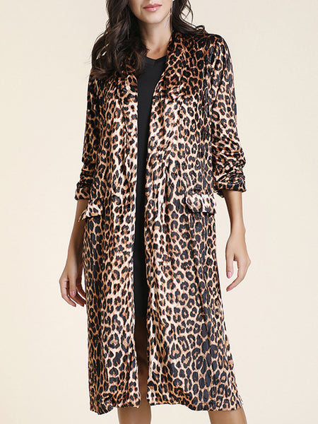Leopard Print Casual Trench Coat