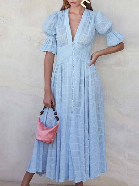 Solid Blue A-Line Date Elegant Maxi Dress