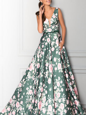 Floral Printed Prom Elegant Maxi Dress