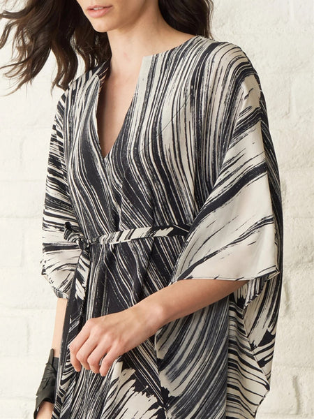 Abstract Printed Beach Holiday Linen Kimono