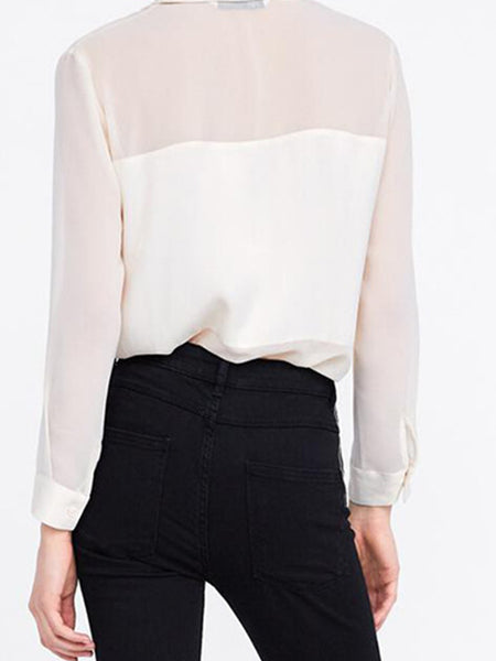 Paneled Buttoned Shift Work Blouse