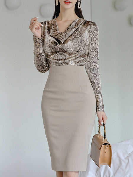 Snakeskin Printed Casual Top with Skirt Set
