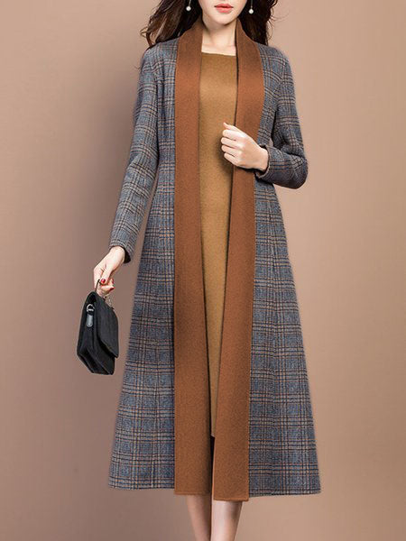 Gray Long Sleeve Shift Elegant Checkered Coat