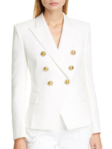 Buttoned Lapel Sheath Elegant Blazer