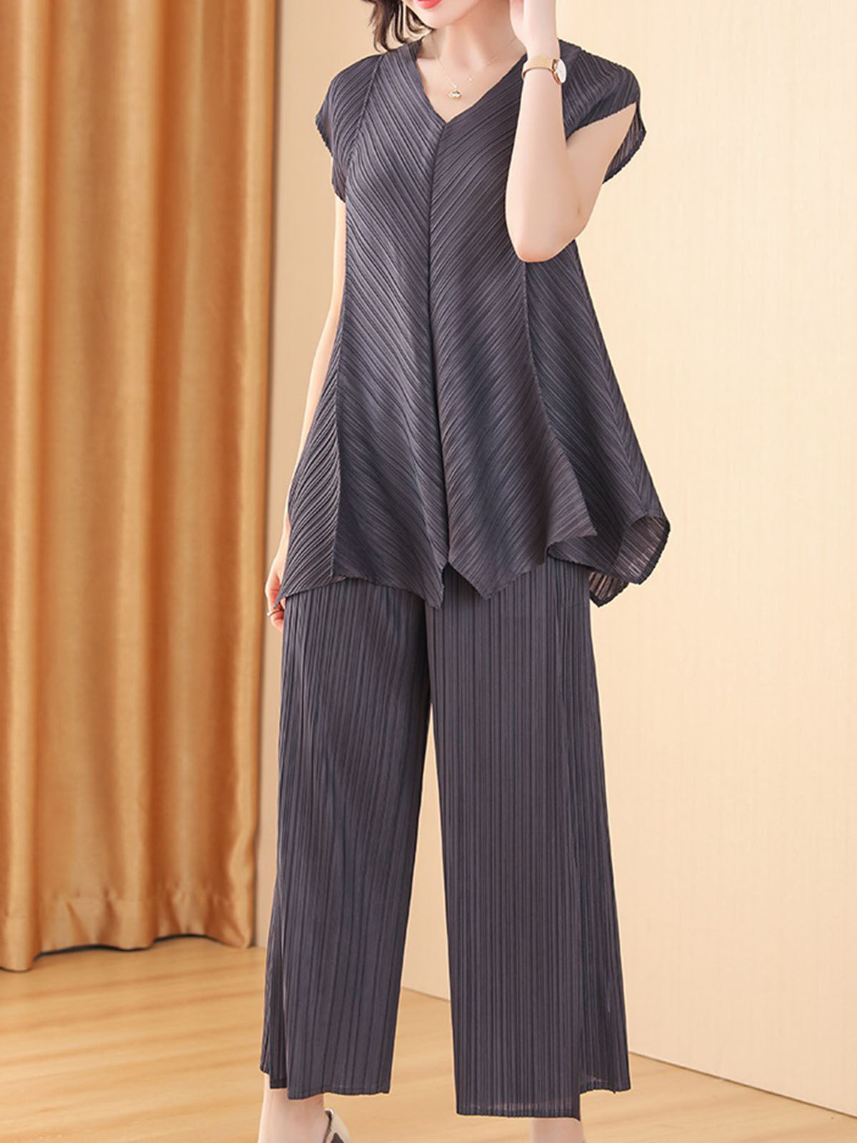 Ruched Shift Casual Top with Pants Set