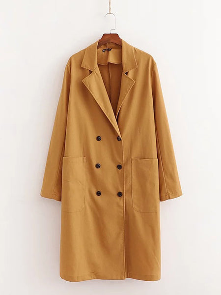 Caramel Lapel Shift Holiday Linen Coat