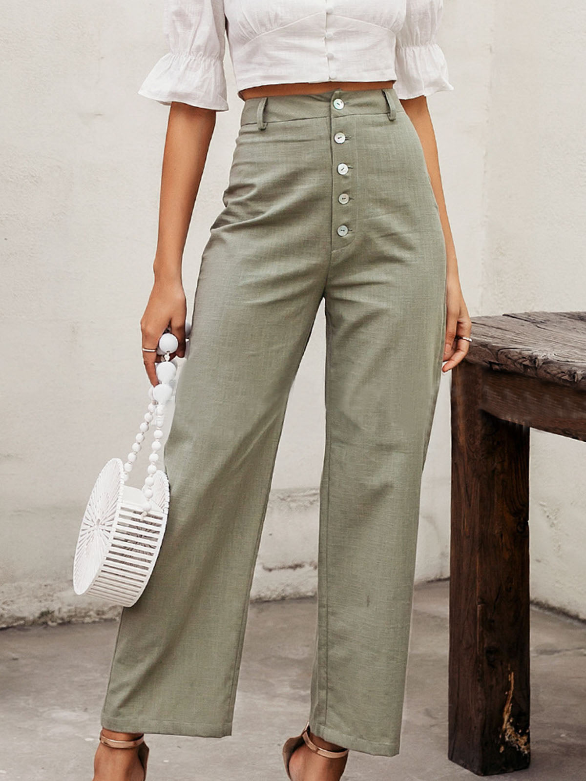Buttoned Solid Shift Casual Linen Pants