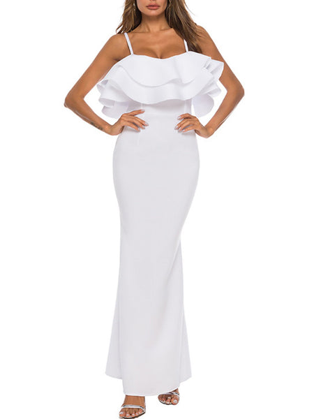 Ruffled Sheath Prom Elegant Maxi Dress