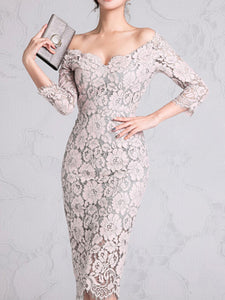 Floral Guipure Lace Bodycon Sexy Elegant Midi Dress