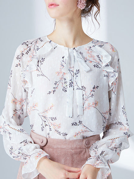 White Printed Floral Shift Long Sleeve Shirts & Tops