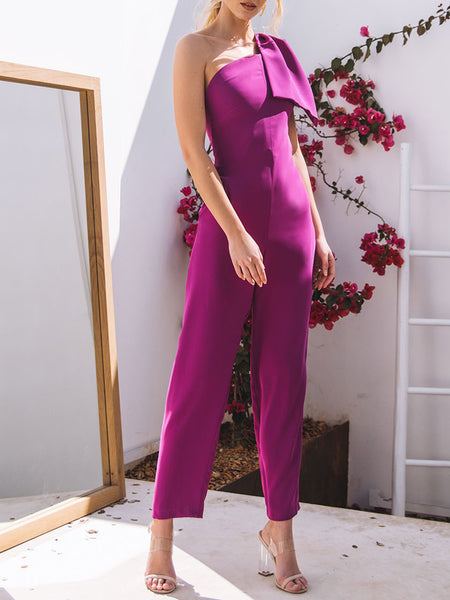 One Shoulder Single Sleeve Asymmetric Elegant Jumpsuit
