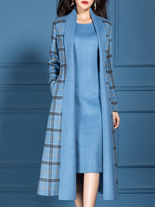 Checkered/plaid V Neck Dress with Coat Work Two-piece Set