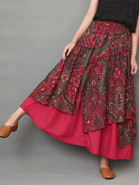 Printed Floral Shift Casual Linen Skirt