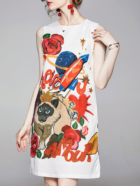 Printed Graphic Casual Midi Dress