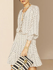 Sweet A-Line Balloon Sleeve Daily Date Polka Dots Mini Dress