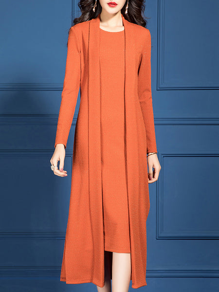 Orange Shift V Neck Dress with Coat Casual Knit Set