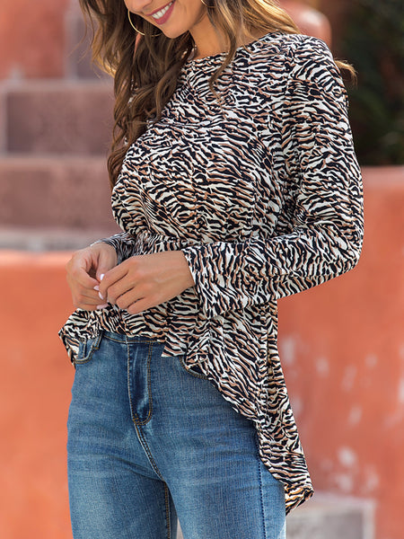 Leopard Crew Neck Long Sleeve Shirts & Tops