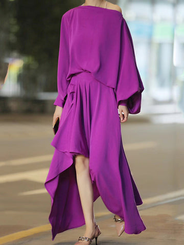 Elegant Balloon Sleeve High Low  Top With Skirt Two-Piece Set