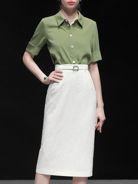 Solid Going Out Work Top With Skirt Two-Piece Set