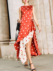 Swing Asymmetric Polka Dots Maxi Dress