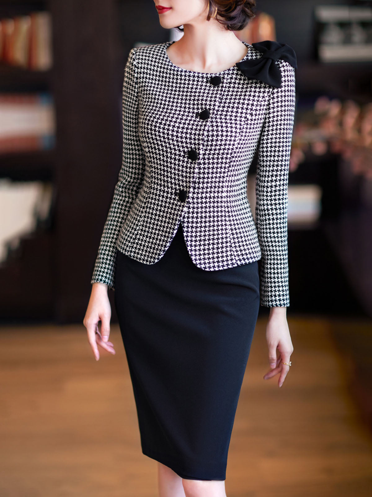 Houndstooth Sheath Elegant Top with Skirt Set