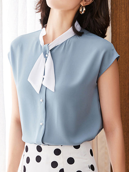 Color-Block Shift Work Casual Blouse