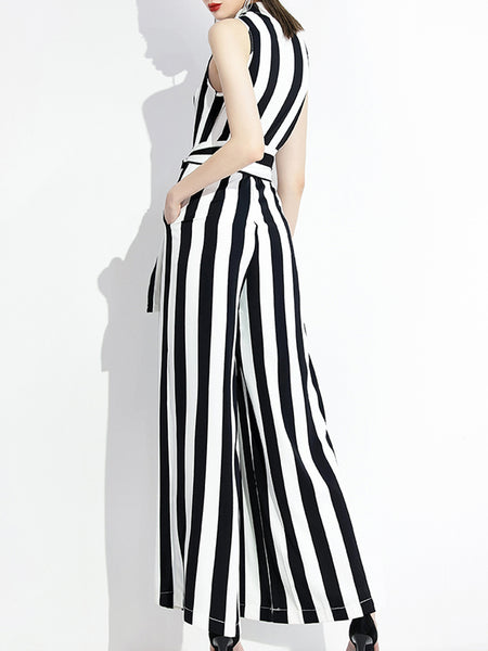 Sleeveless White-Black Surplice Neck Striped Elegant Jumpsuit