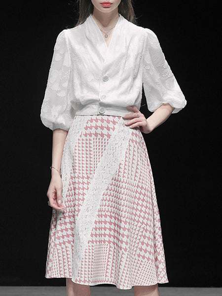 Graphic Paneled Elegant Top with Skirt Set