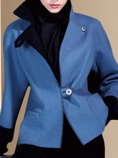 Blue Solid Lapel Elegant Coat