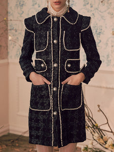 Black Peter Pan Collar Beaded Pockets Elegant Coat