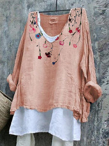 Pink Cotton-Blend Floral Sweet Shirts & Tops