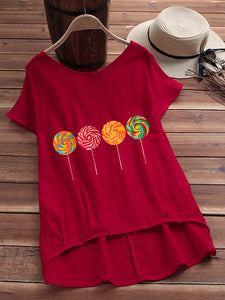 Red Cotton-Blend Sweet Shirts & Tops