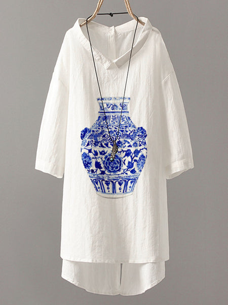 White Tribal Short Sleeve Cotton-Blend Shirts & Tops