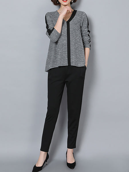 Gray V Neck Solid Shift Casual Suits