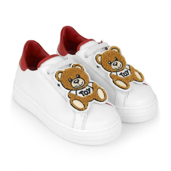 MOSCHINO KIDS WHITE LEATHER TEDDY TRAINERS - Tods Bay