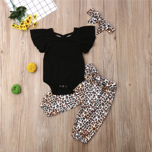 Baby Girl | 3-Piece | Leopard | Headband | Set - Tods Bay